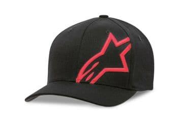 Alpinestars Corp Shift 2 Curved Brim Flex Fit Casual Baseball Hat Cap Black Red